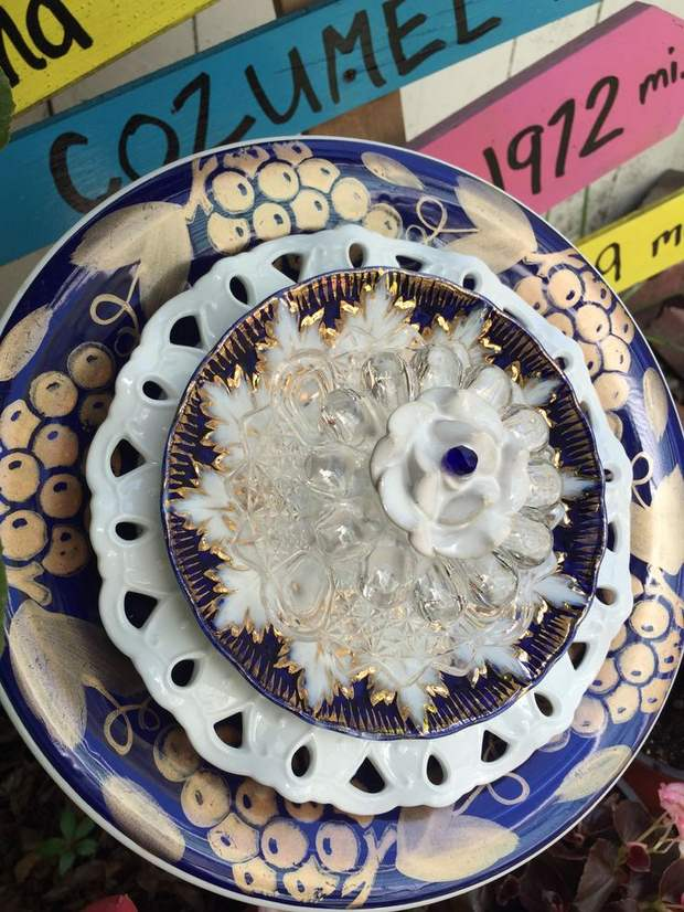 garden glass flower repurposed ceramic dinner plates decorating ideas