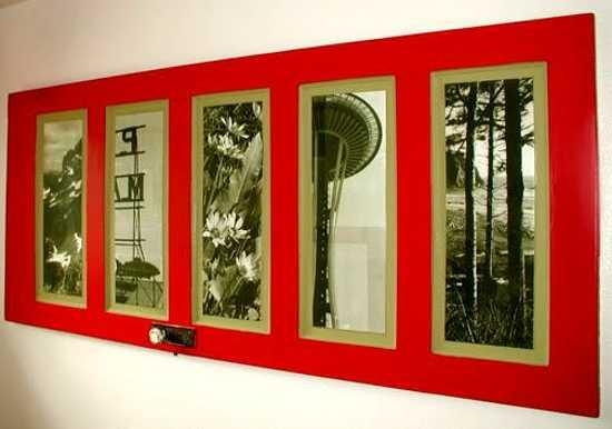 recycling old wooden doors red painted photo frame wall hanging indoor creative idea