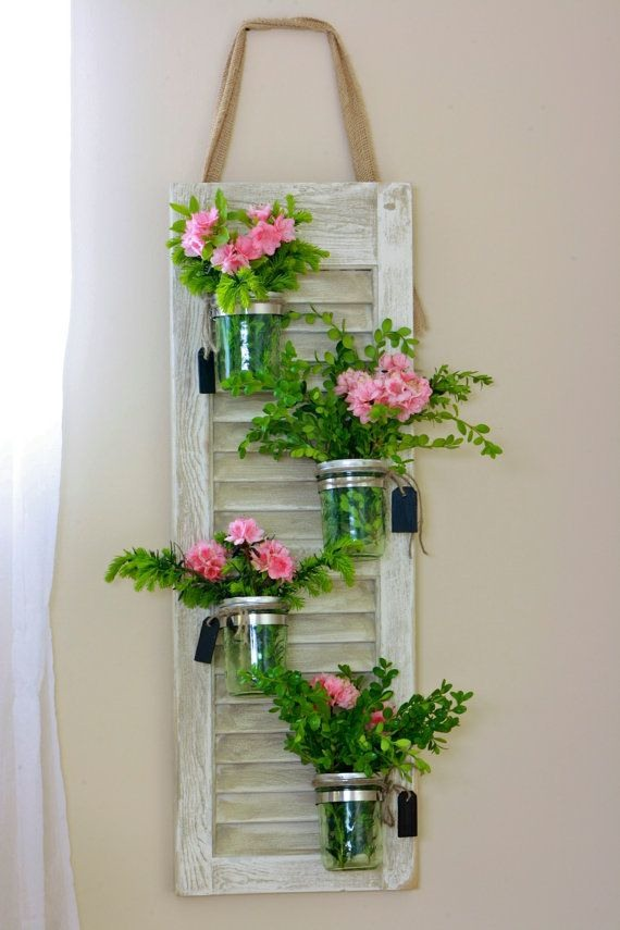 recycling old wooden window frame wall hanging with glass jar flowers decor idea
