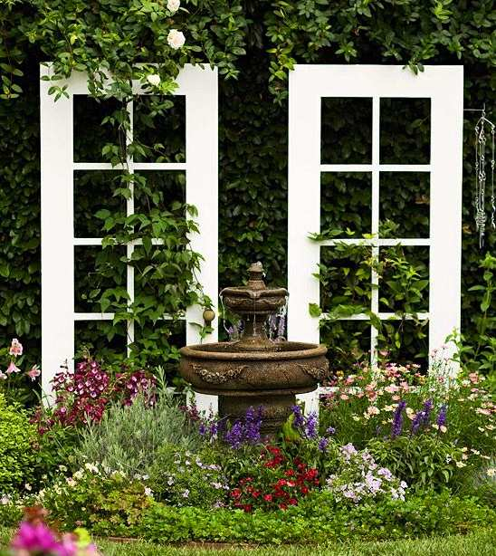 recycling old wooden doors white painted backyard garden decoration