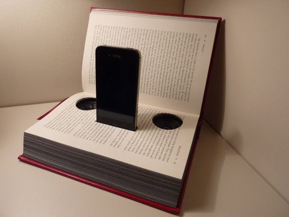 reuse old books diy iphone music design stand speakers home craft idea