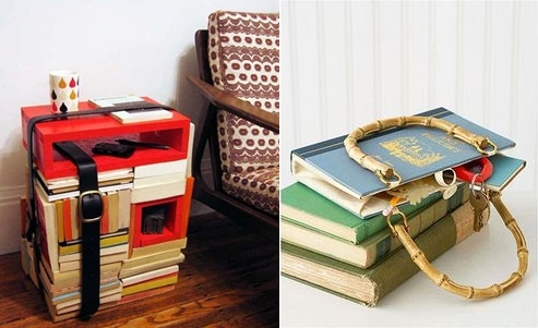 reuse old books homemade diy side table belts furniture design idea