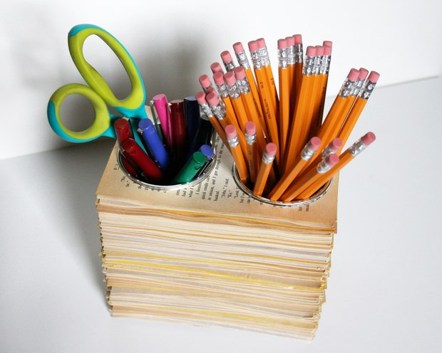 reuse old books pages pencils cups diy work desk creative craft idea