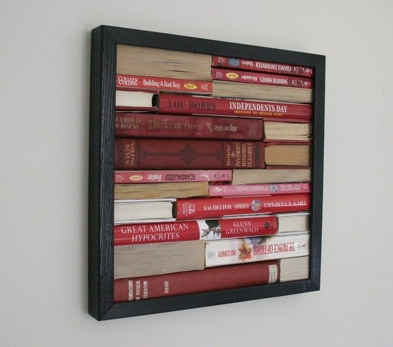 reuse old books upcycled art painting hanging wall black frame creative diy project