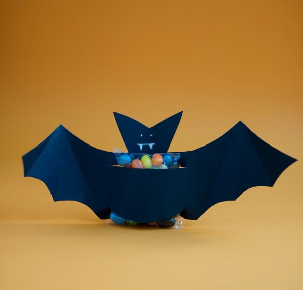 halloween goody bag idea black diy paper bat candy holder decoration