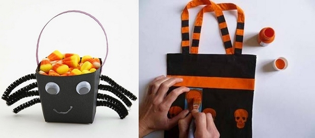 halloween goody bag idea black paper box orange skulls prints candies