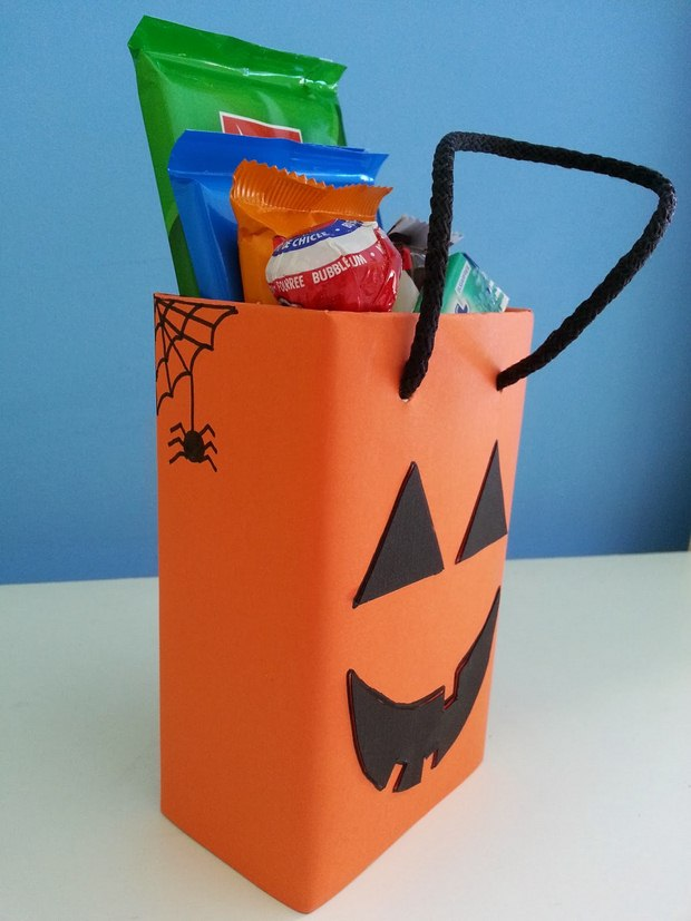 halloween goody bag ideas orange pumpkin candy bag