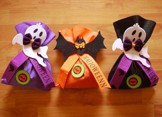 halloween goody bag ideas small fabric candy gifts scary decorated