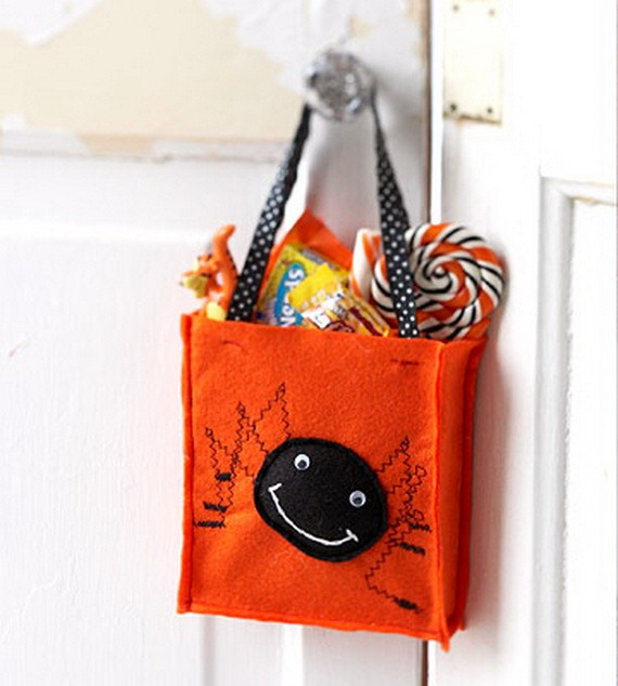 halloween goody bag ideas upcycled fabric diy orange bag candy hanging door decor