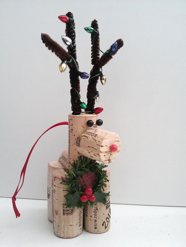 recycled wine christmas crafts red nosed reindeer ornament idea