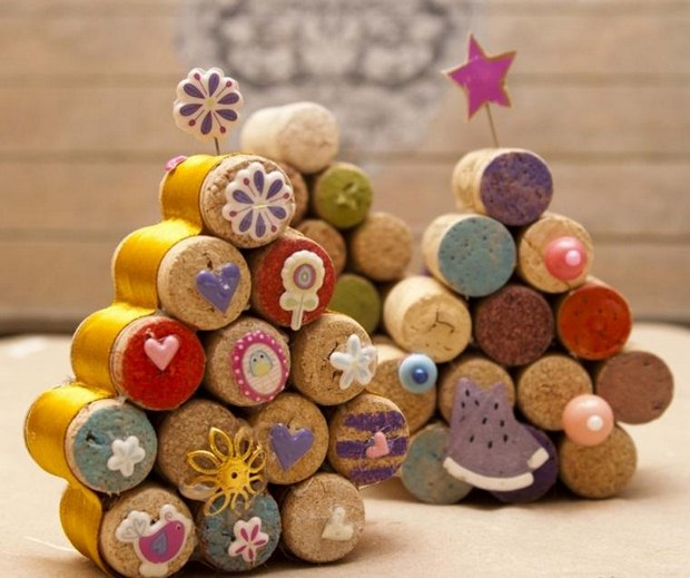 reused wine cork christmas crafts handmade tree decoration star