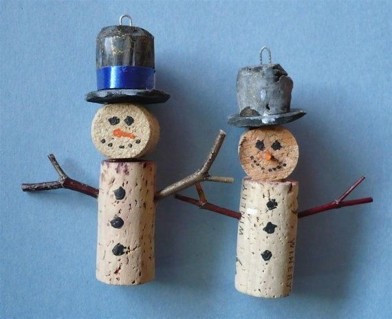 reused wine cork christmas craft snowman ornaments black hats