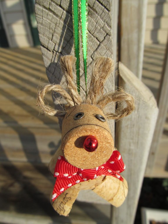 wine cork christmas crafts handmade ornament red nosed deer red ribbon decor