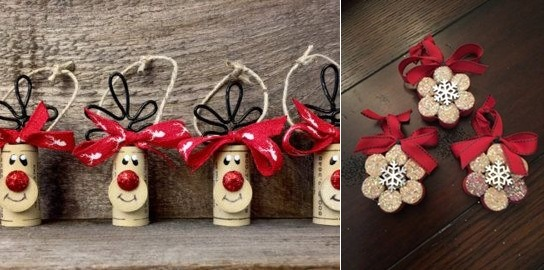 wine cork christmas craft handmade ornaments red nosed deers red ribbons