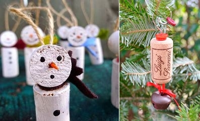 wine cork christmas craft ornaments white painted snowman
