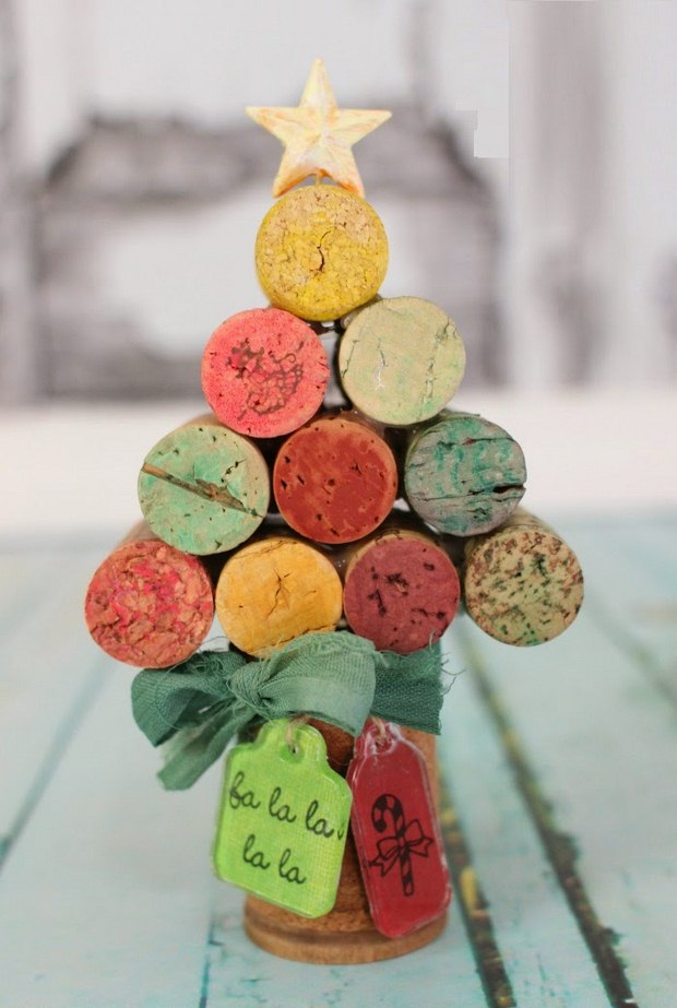 wine cork christmas crafts painted mini tree ornament star ribbon