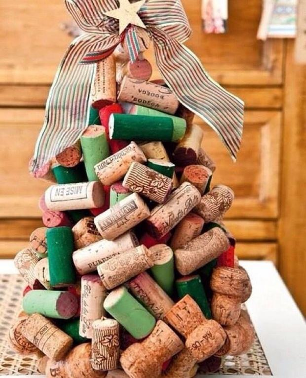 wine cork christmas craft upcycled diy tree big ribbon home decor