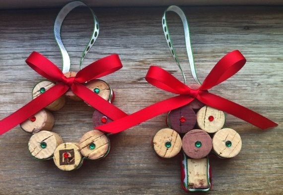 wine cork christmas crafts upcycled painted ornaments red ribbons