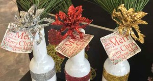 christmas-table-centerpieces-crafts-decorations-glass-bottles-painted-glitter-silver-red-gold-greenery
