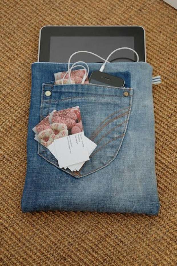 repurpose old jeans handmade ipad denim case cheap ideas