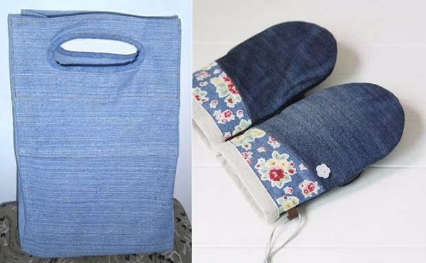 reuse old jeans handmade shopping bag kitchen gloves for cooking