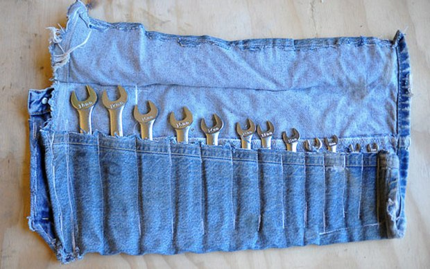 reuse old jeans open end wrenches set holder amazing recycled idea