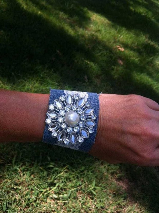 reuse old jeans recycled denim hand bracelet jewelry amazing idea