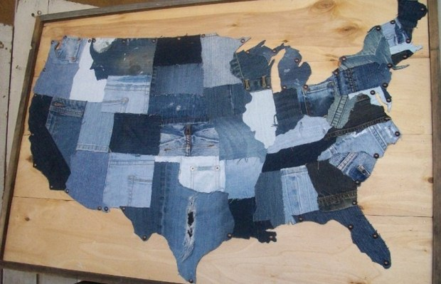 reuse old jeans recycled usa denim country map amazing idea