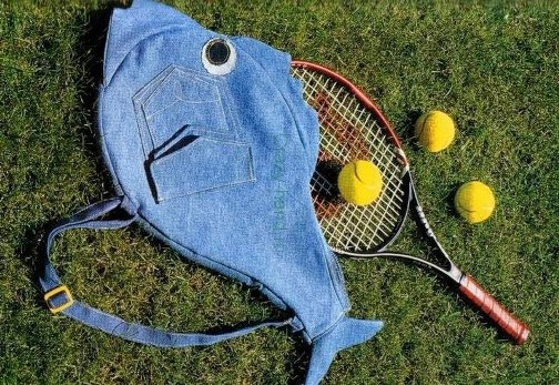 repurpose old jeans tennis racquet cover fish shaped creative upcycling idea