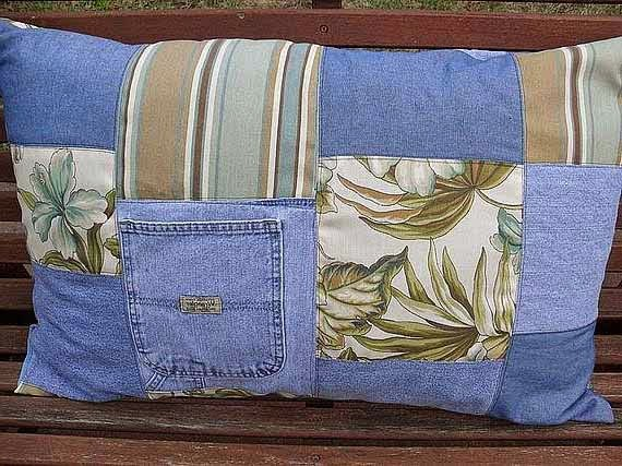 repurpose old jeans upcycled handmade pillowcase outdoor decoration idea