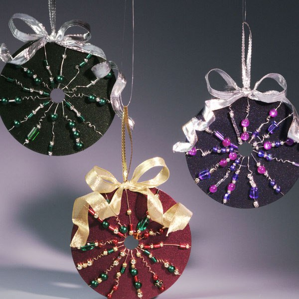 reuse cd craft beaded ornaments hanging diy shiny ribbon