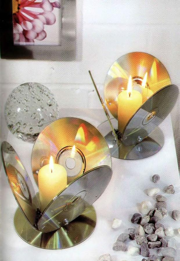 cd crafts candle holder diy lighting table decor upcycling idea