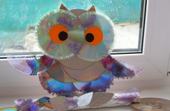 cd craft diy owl homemade kids project reused idea