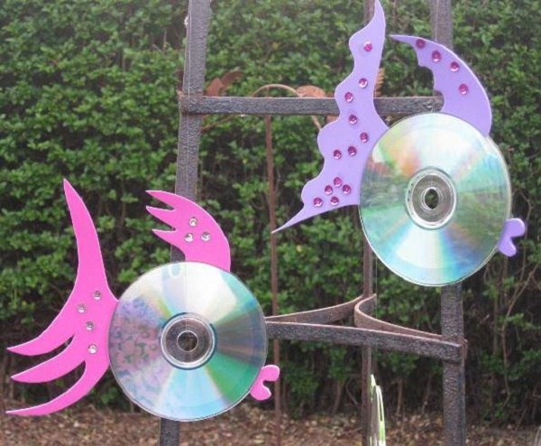 cd crafts fish shaped foam rhinestones garden creative decoration