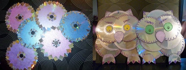 cd craft handmade owls reused discs indoor decoration ideas