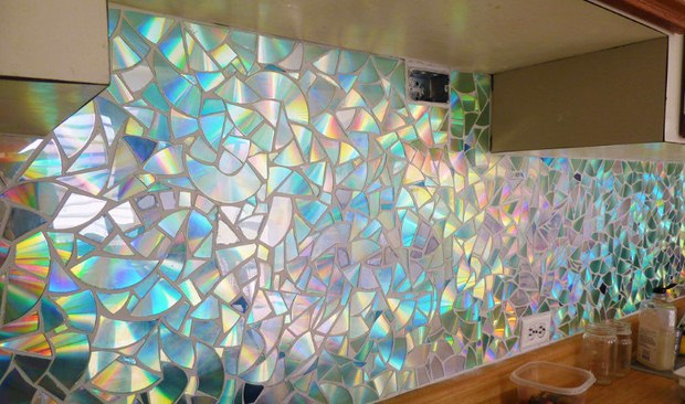 cd craft wall decoration broken discs creative home colorful art idea