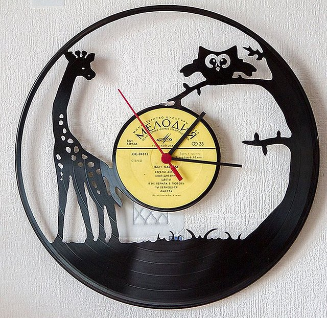 recycling vinyl records mounted clock animals creative room wall hanging decoration