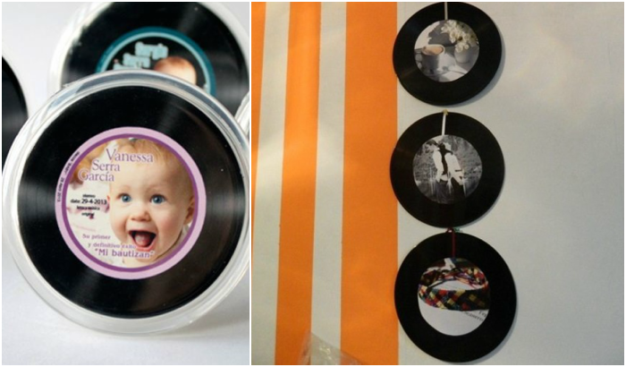 recycling vinyl records hanging frame family picture wall decoration