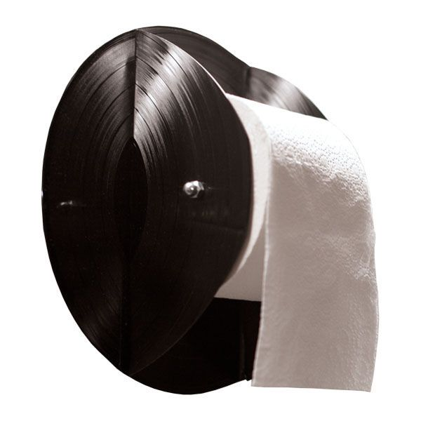 recycling vinyl records toilet paper roll holder diy repurposed idea
