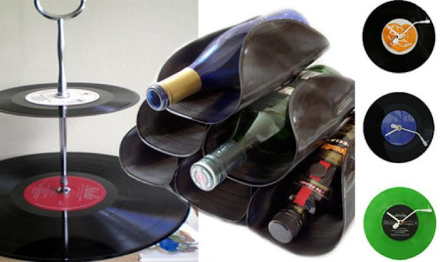 recycling vinyl record wine bottle holder bent clock stand idea