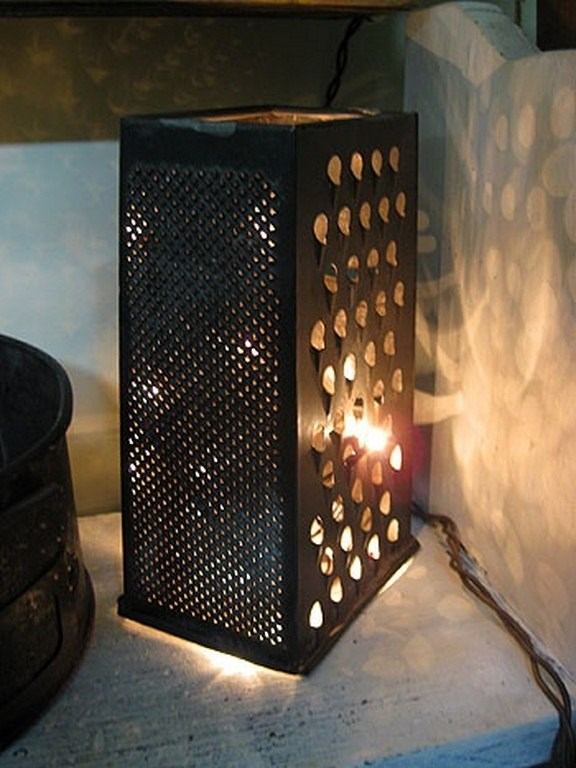 repurposed cheese grater diy indoor rustic lamp art project