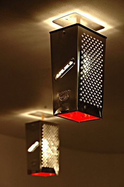 upcycle cheese grater indoor hanging rustic pendant lamp decor idea