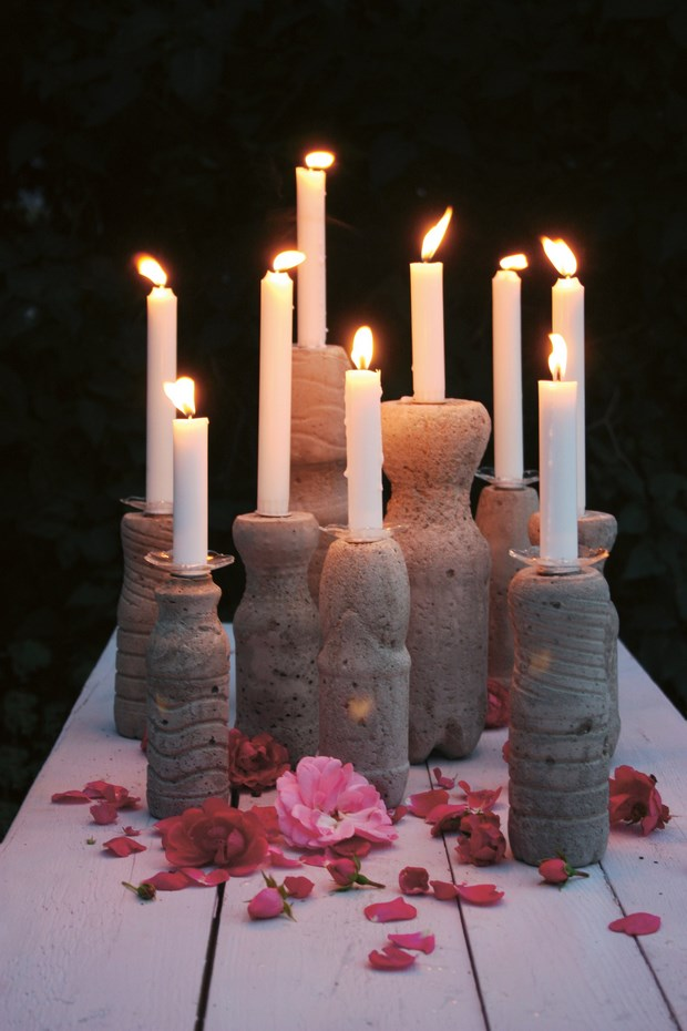 concrete projects candle holders reused plastic bottles crafts