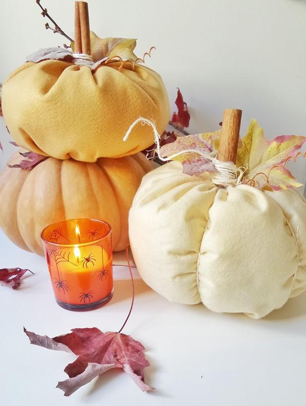 stuffed fabric pumpkin faux leaves cinnamon sticks