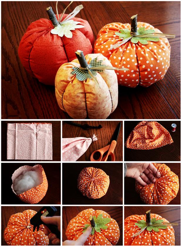 stuffed fabric pumpkin how to sew twigs