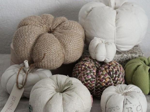 stuffed fabric pumpkin white fall decorations