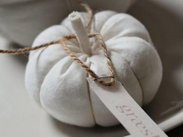 stuffed fabric pumpkin white shabby chic