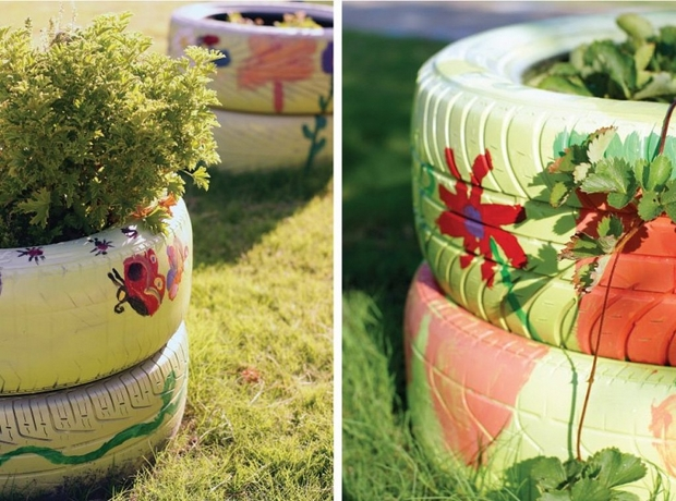creative reuse tires painted garden flower bed