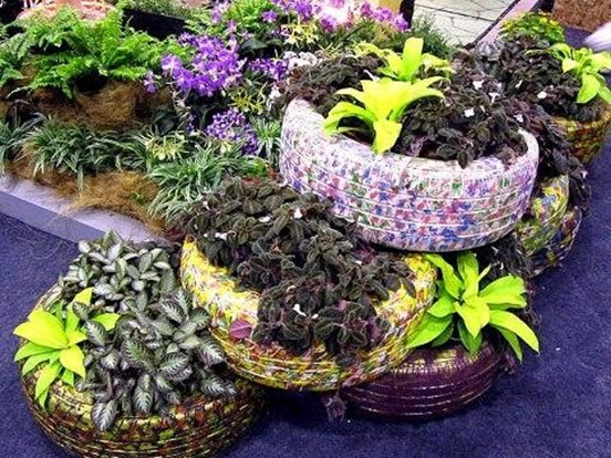 diy flower bed ways reuse old tires garden plants