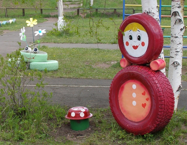 diy upcycled garden reuse painted tires cute faces